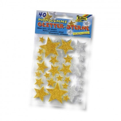 FOLIA Moosgummi-Sticker \´´Sterne\´´ 40 Stück gold/silber