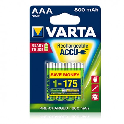 VARTA Akku Micro AAA 800 mAh Batterie, 4 Stück