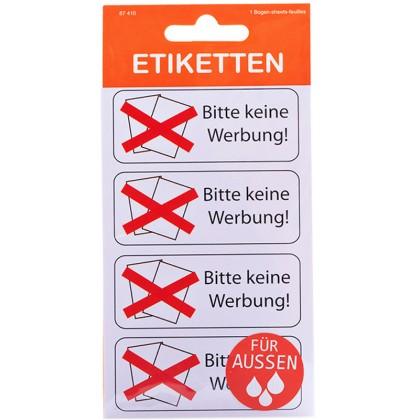 Etiketten \´´Bitte keine Werbung\´´ für Außen weiß